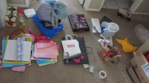 Sorting all the wrapping supplies