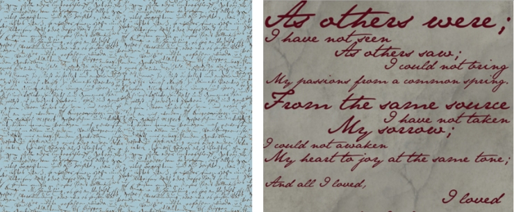 Examples of Romantic Script Textiles via Spoonflower.com