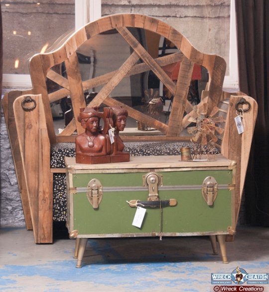 We are in love with the furniture piece made form this vintage trunk (Image via Wreck Creation)