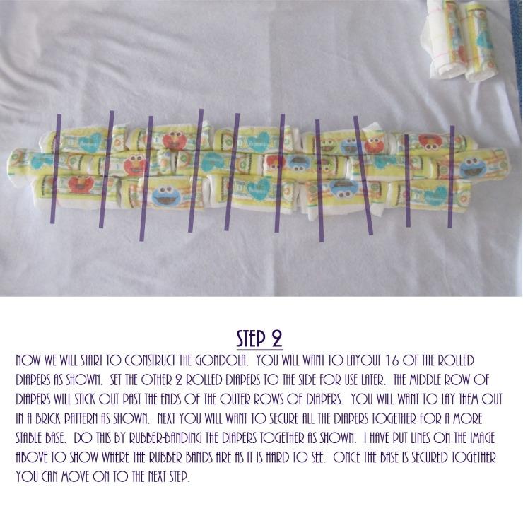 Gondola Diaper Cake DIY - Step 2