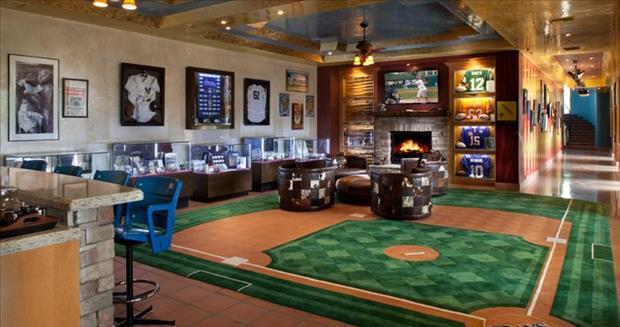 Ultimate man caves f i n d s for A bathroom i can play baseball in