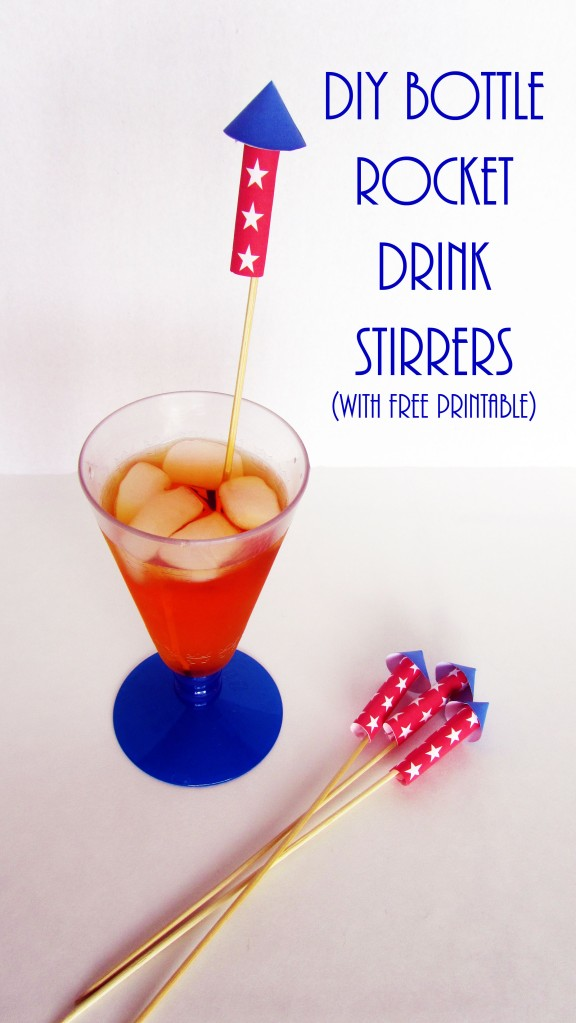 DIY Bottle Rocket Drink Stirrer with free printable