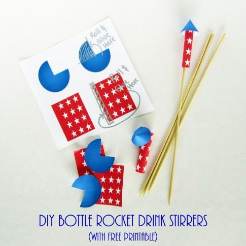 DIY Bottle Rocket Drink Stirrers with free printable
