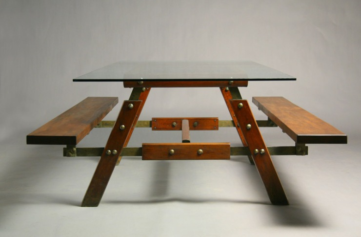 FINDS - Fantastic Furniture Picnic Table - Exotic Wood and Glass Picnic Table by Sergio Rodrigues