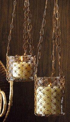 Hanging Macrame Candle Holders - Decorigami - Macrame Madness