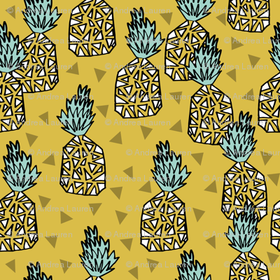 Pineapple - Mustard - Spoonflower -  FINDS - Textile Tuesday Summer Prints