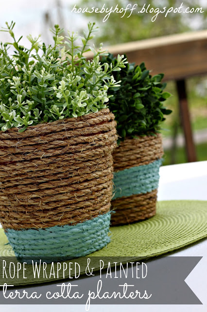 Summer DIY Roundup - Rope Wrapped Pots