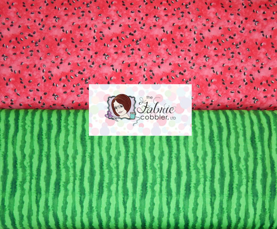 Timeless Treasures Watermelon Rind and Water Melon Seeds - FINDS - Textile Tuesday Summer Prints