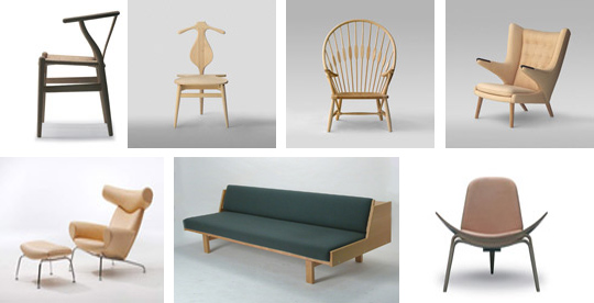 Fantastic Furniture - Mid-Century Modern Design - Hans Wegner From left to right top to bottom -- Wishbone - Valet - Peacock - Papa Bear - Ox - Daybed 268 - Shell