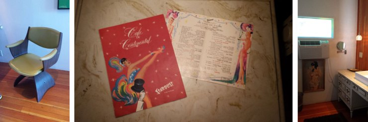 Fun vintage finds in the nightstands.  A room service menu and show schedule form 1960's Stardust Hotel in Las Vegas