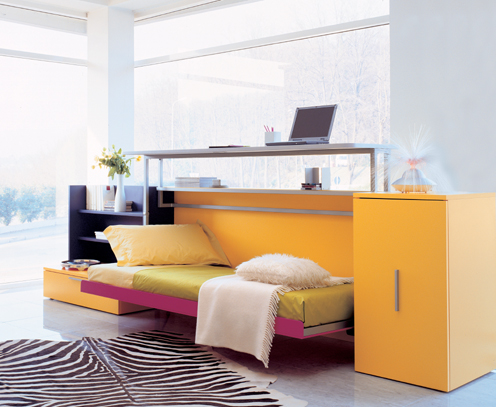 FINDS - Decorigami - Hidden Sleeping Space - Cabrio In Pull Down Desk Bed folded down