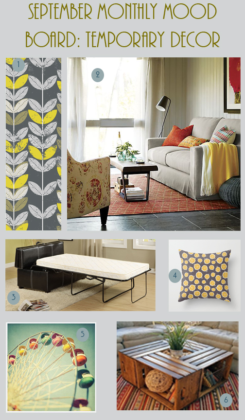 Finds - September - Monthly Mood Board - Temporary Decor