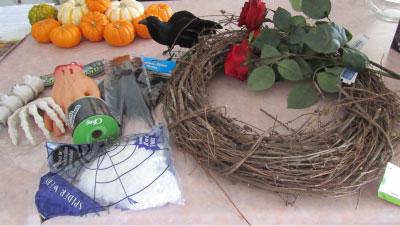 Holiday DIY - Addams Family Wreath Supplies
