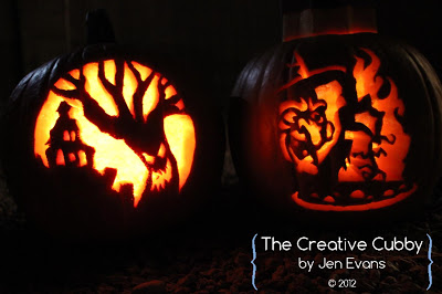 Holiday DIY - Pumpkin Decorating Roundup - Carved Pumpkins using a Template