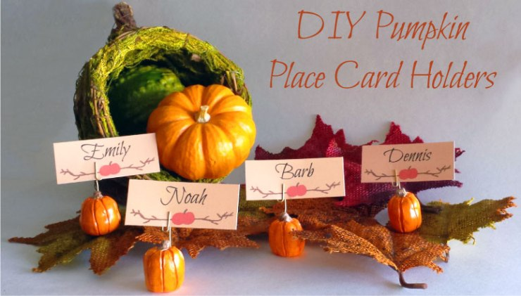 FINDS - Holiday DIY - Pumpkin Place Card Holders + Free Place Card Printable