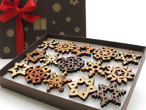 Mini Wooden Snowflake Ornament Gift Box Rustic Handmade Designs Laser Cut from Sustainable Harvest Wisconsin woods - FINDS CREATIVE GIFT GUIDE 2014