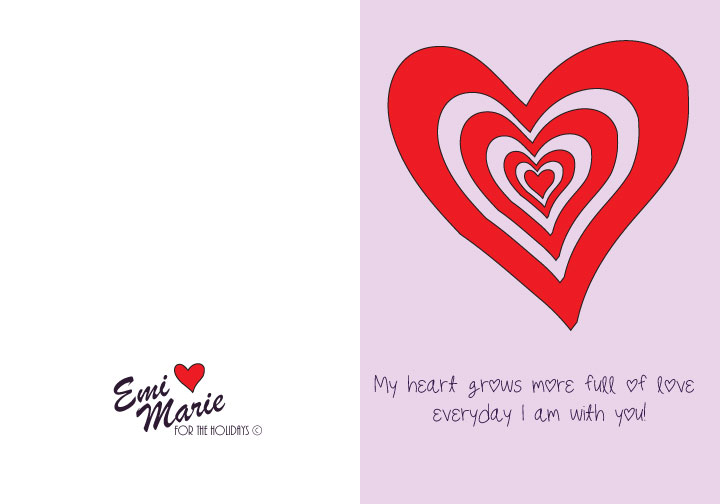My Heart Grows Printable Valentin's Card