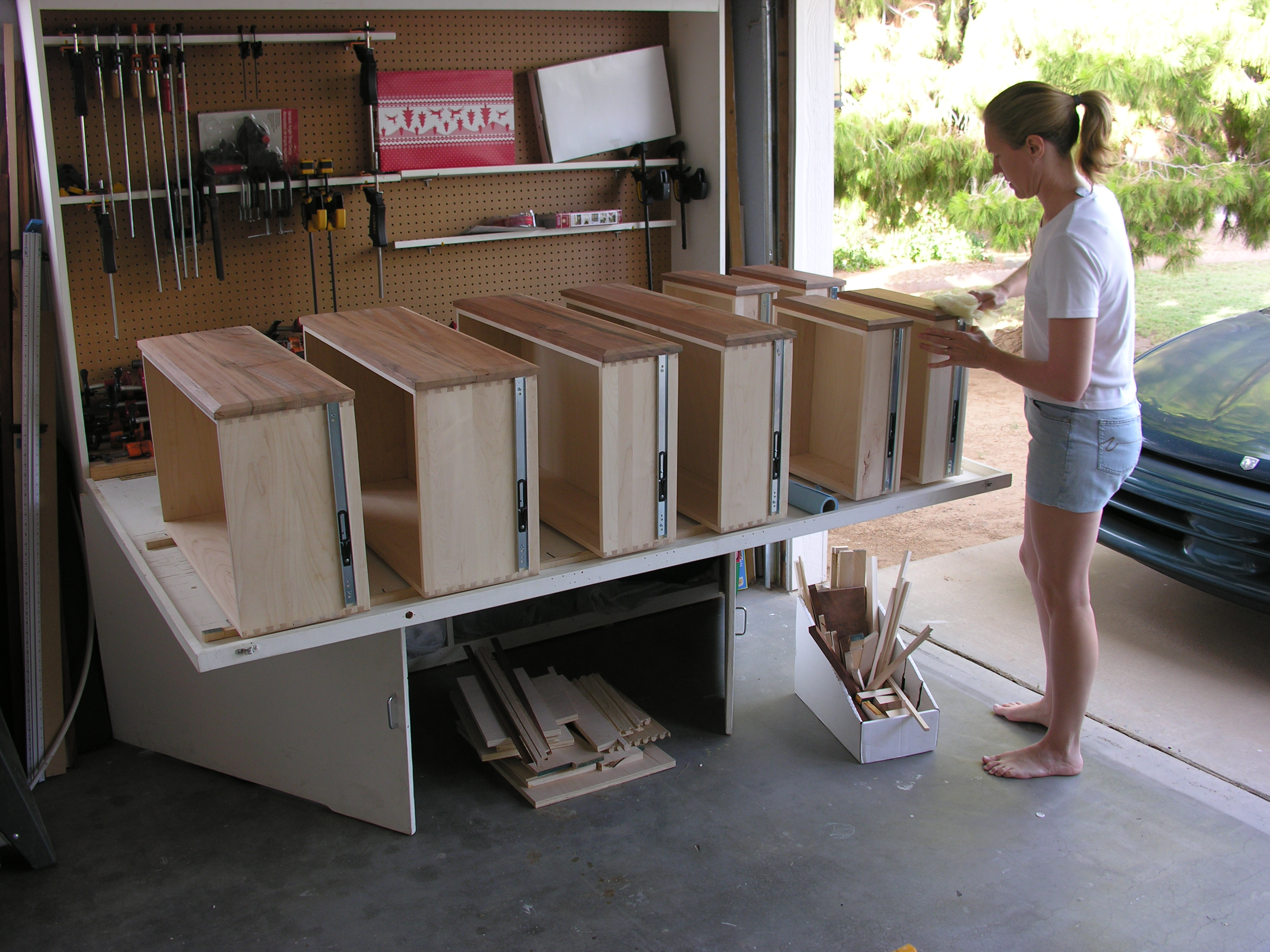 My Mom Finishing Drawer Fronts For The Dresser They Made Me.