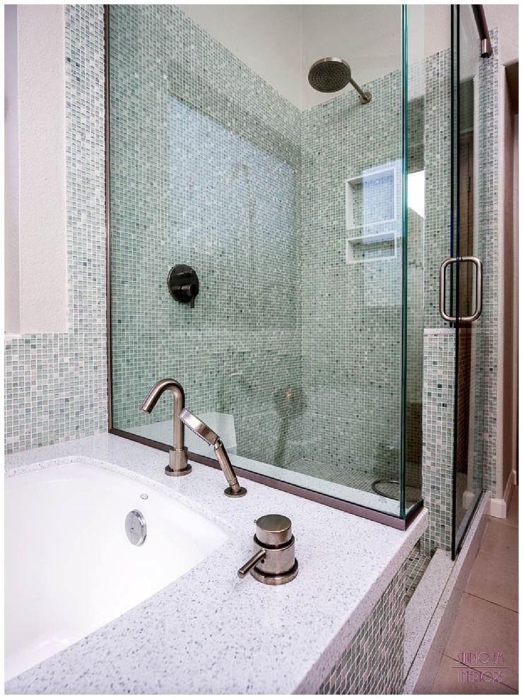 Tub/Shower area of Chandler Spa Suite - Master Bathroom Remodel - Studio Em Interiors