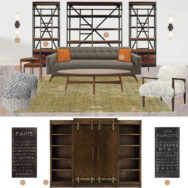 Industrial Modern Living Room Mood Board - Studio Em Interiors