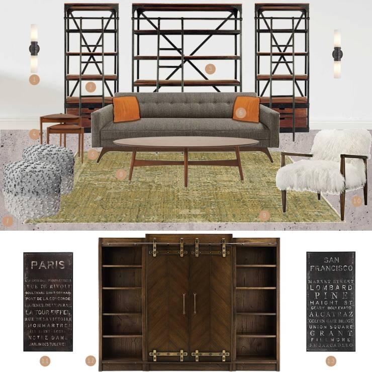 Industrial Modern Living Room Mood Board - Studio Em Interiors